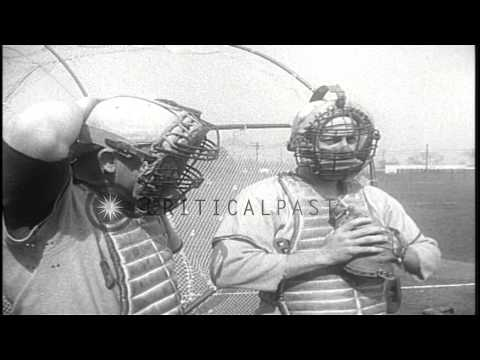 Members of the Saint Louis Browns play baseball during a spring training camp in ...HD Stock Footage
