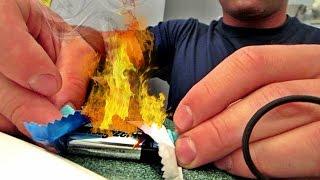 start a fire using battery gone wrong