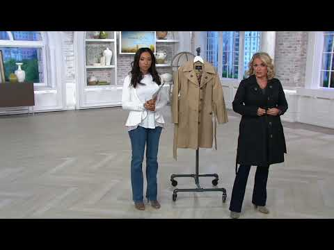 London Fog Women's Water Repellent Trench Coat On QVC