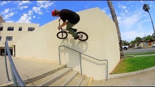 Devon Smillie riding BMX in Huntington Beach