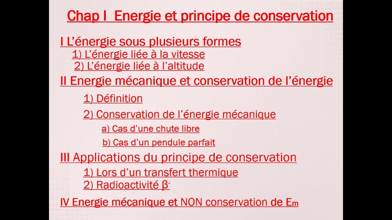 principe de conservation de l energie