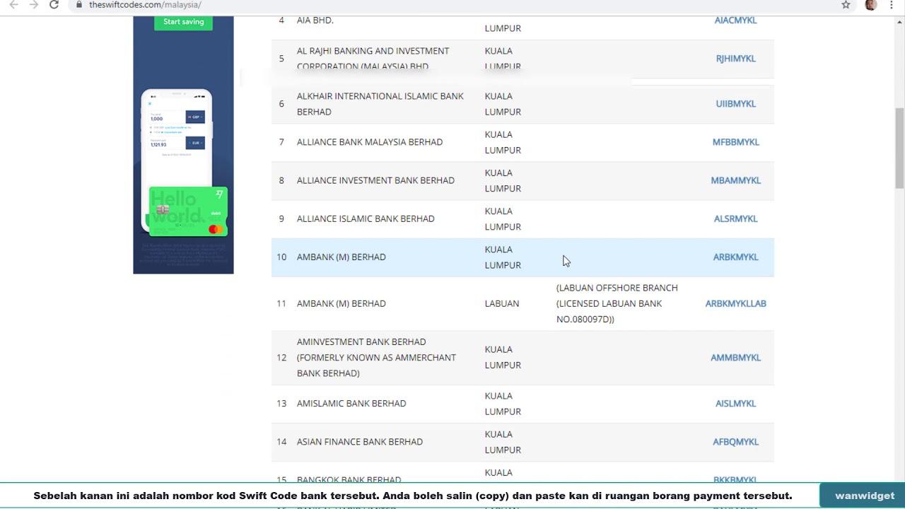 Cara Check Swift Code Malaysia Youtube