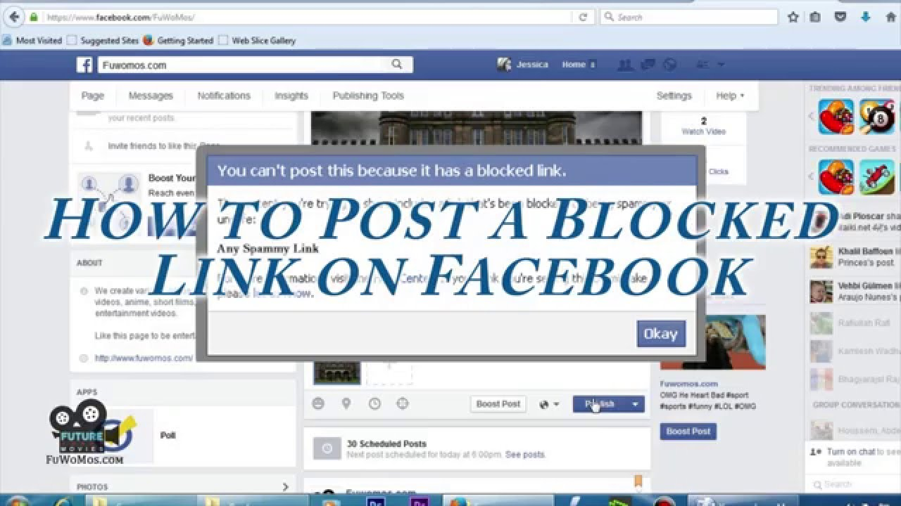how to post blocked links on facebook