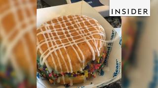 The Baked Bear in SoCal makes a doughnut ice cream sandwich