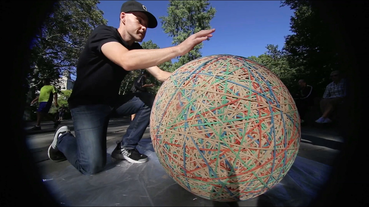 Huge Rubber Band Ball In Central Park Youtube
