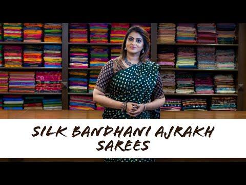 Silk Bandhani Ajrakh Sarees   Suja Silks  