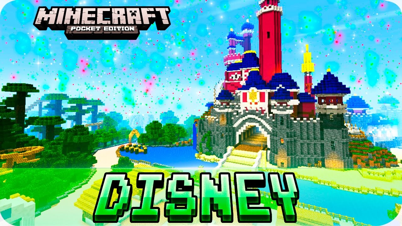 Minecraft PE Maps DISNEYLAND Theme Park With Roller Coaster IOS - Minecraft hauser map