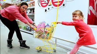 Merry Nastya and Mom doing Shopping in Toy Store