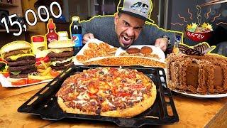 تحدي اكل وجبة عائلية كبيرة ومتنوعة بمعدل ۱٥۰۰۰ سعرة حرارية |  موكبانغ - 15,000 Calorie Challenge