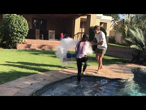 I pushed my girlfriend into the freezing cold pool prank