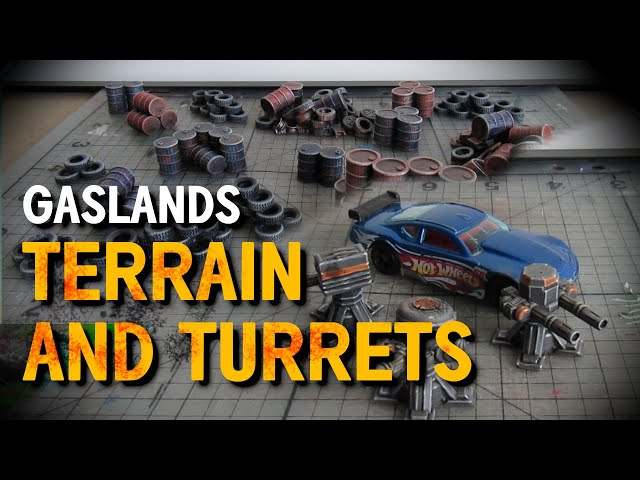 Painting 3D Printed Scatter Terrain and Turrets for Gaslands