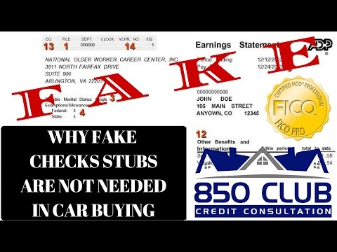 Why Fake Check Stubs Are Not Needed In Car Buying - 850 Club Credit Consultation