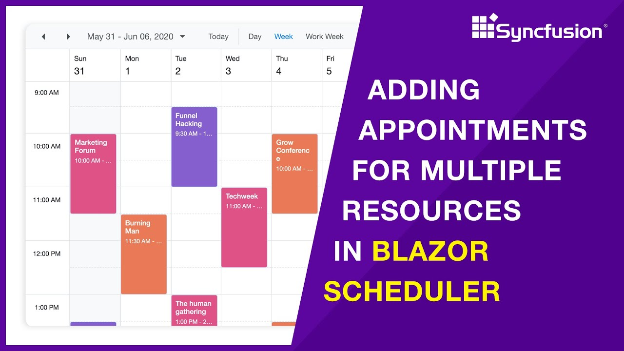 Adding Appointments for Multiple Resources in Blazor Scheduler