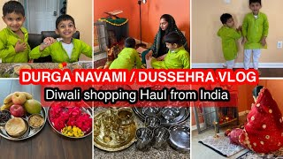DURGA NAVAMI / DUSSEHRA VLOG 2020 || DIWALI SHOPPING HAUL || FESTIVE WHOLE DAY ROUTINE VLOG 2020 ||