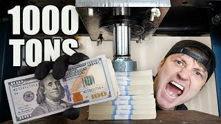 CAN $10,000 SURVIVE A HYDRAULIC PRESS!! (HYDRAULIC PRESS vs $10,000)