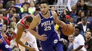 Ben Simmons, Markelle Fultz NBA Debut! John Wall Dunks! 76ers vs Wizards 2017-18 Season