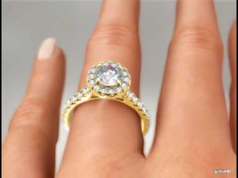 hearts on fire yellow gold engagement ring on realhd hand by