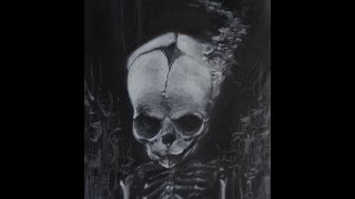 Realistic Charcoal Speed Drawing of Fetal Skull Dreamer Time Lapse