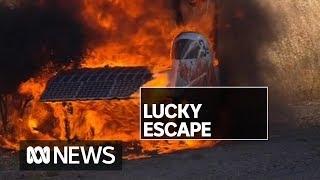 Driver makes lucky escape after World Solar Challenge car bursts into flames | ABC News