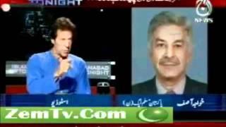 Stupid Khawaja Asif butumeezi with imran khan