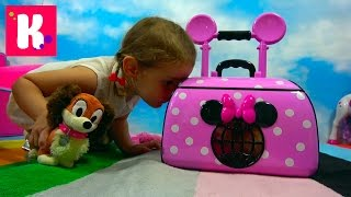 Питомец Минни Маус собачка ФиФи в чемоданчике для перевозки Minnie Mouse pet FiFi unboxing toys