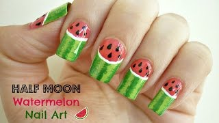 Half Moon Watermelon Nail Art! [Collab with Madjennsy]