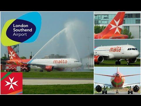 ✈ Air Malta Inaugural Flight Airbus A320 9H-AEP at London Southend Airport 04/05/2018