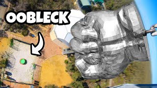Worlds HEAVIEST Hulk Fist (660lbs) Vs. OOBLECK Pool from 45m!