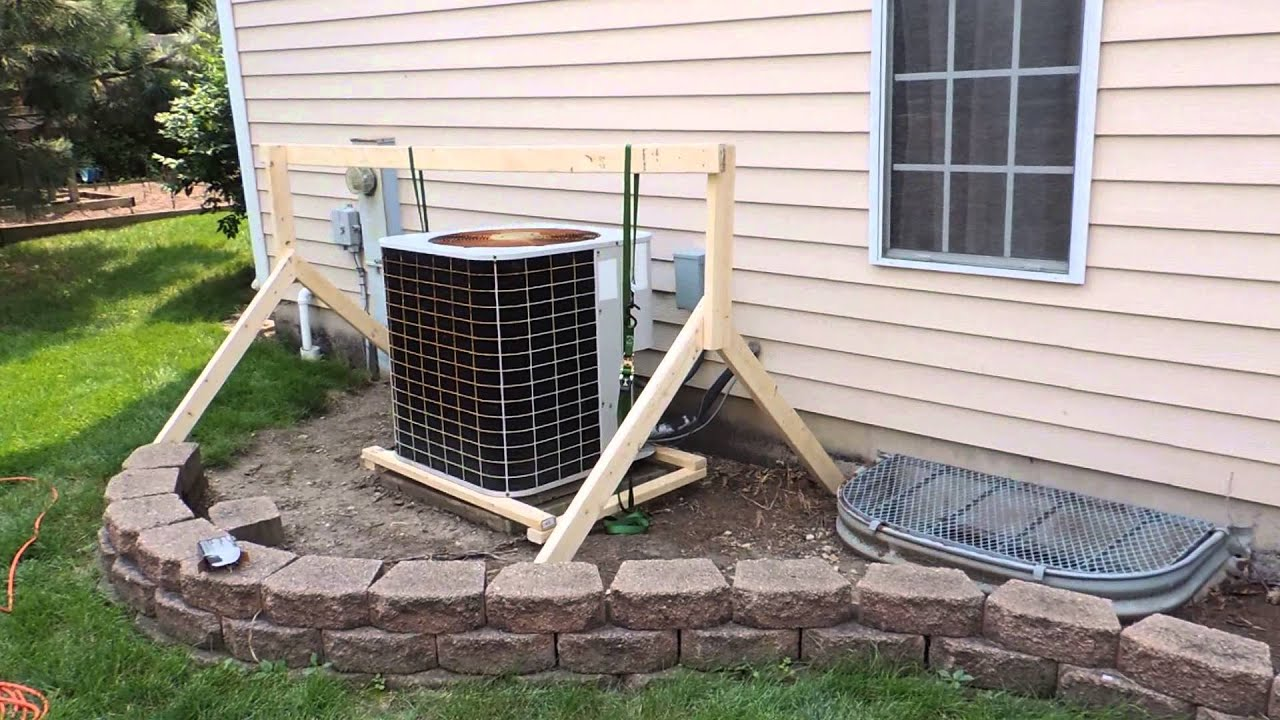 Raise your outside ac unit youtube for Ac condenser pad installation