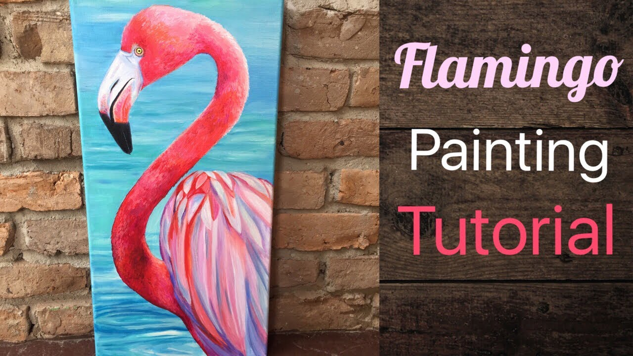 Flamingo Acrylic Painting Magnetic Heart Canvas