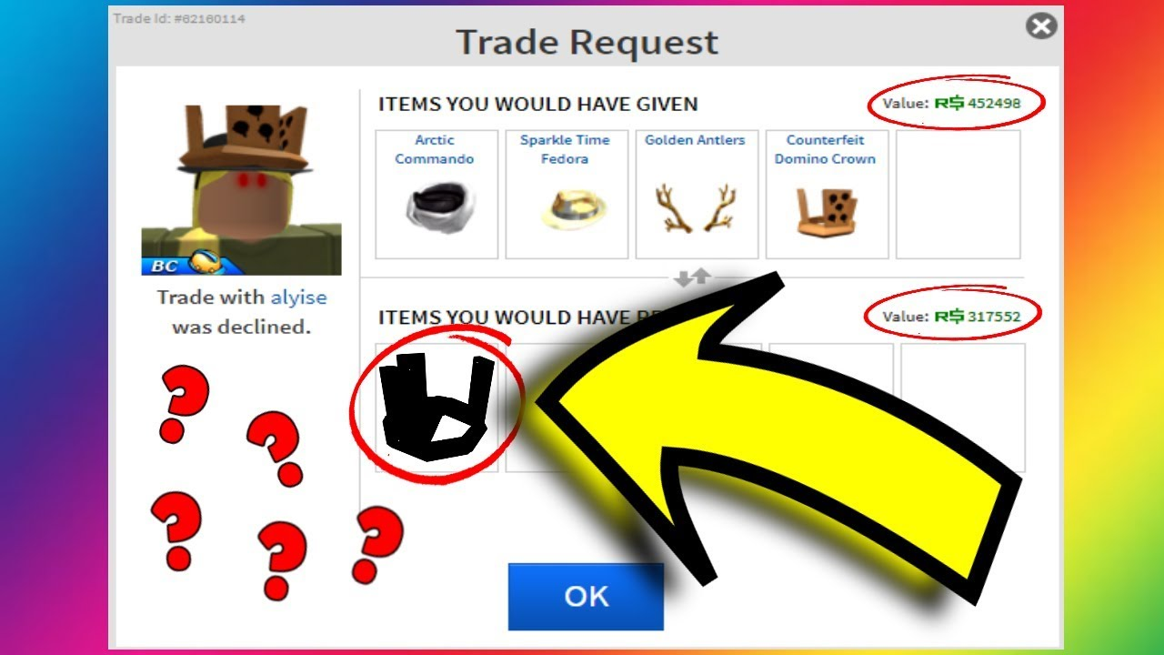 Trading For A Domino Crown Roblox Trading Youtube