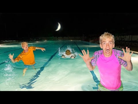 EXPLORING ABANDONED POOL at 3AM!! (Pond Monster Spotted)