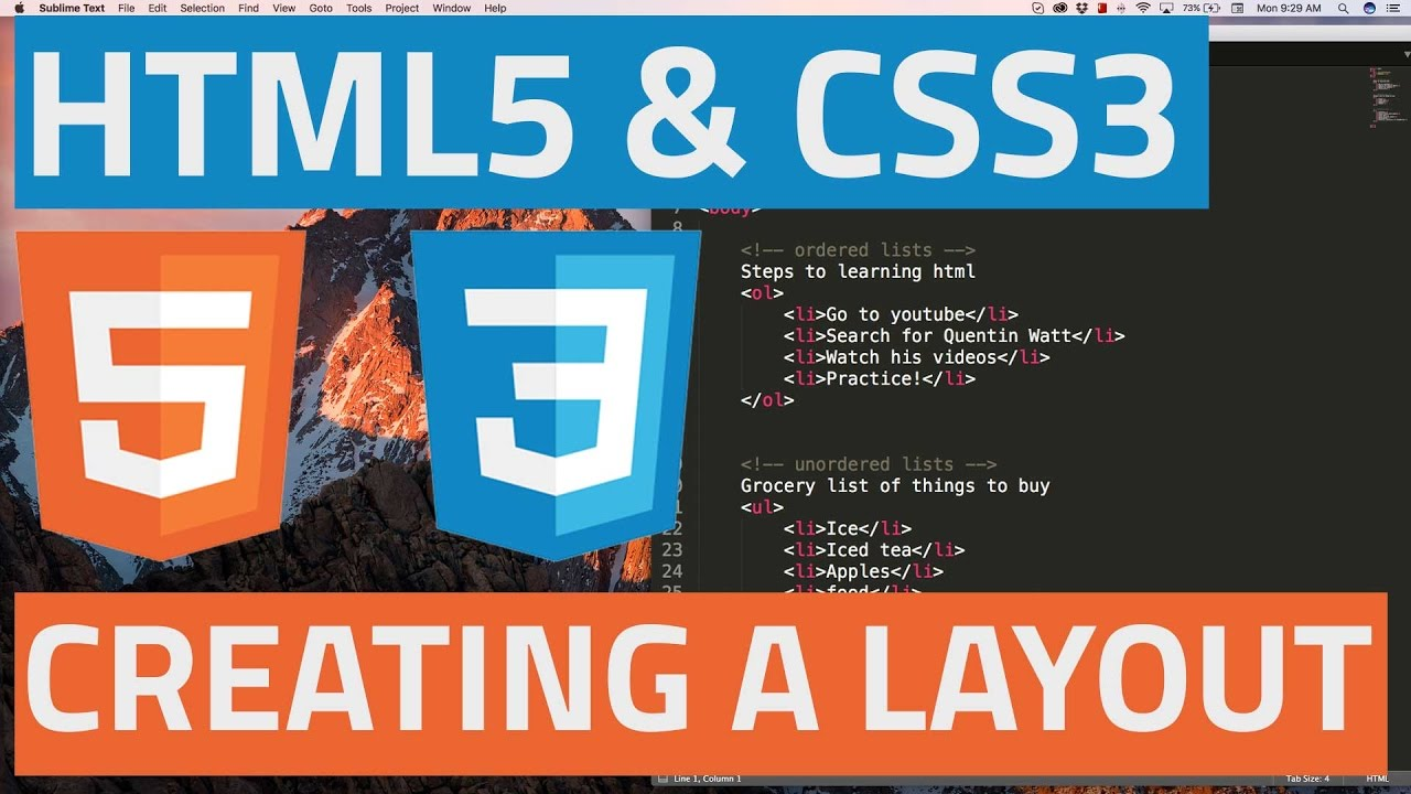 HTML5 and CSS3 beginner tutorial 30 - Creating a simple website layout