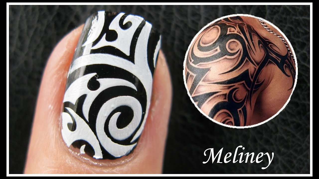 TATTOO NAIL ART DESIGNS | EASY HOW TO TRIBAL ARTIST GRAFFITI KONAD ...