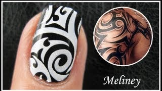 TATTOO NAIL ART DESIGNS | EASY HOW TO TRIBAL ARTIST GRAFFITI KONAD STAMPING TUTORIAL FOR BEGINNERS
