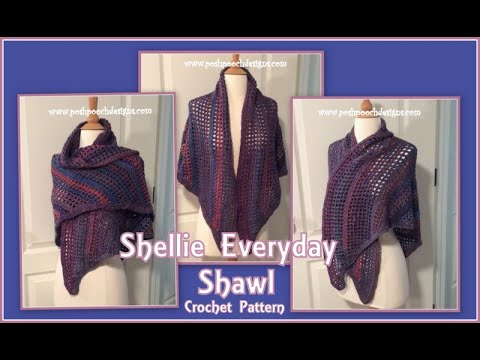 Shellie Everyday Shawl Crochet Pattern #crochet #crochetvid