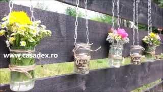 Decoratiuni din borcane pentru gradina sau balcon - DIY