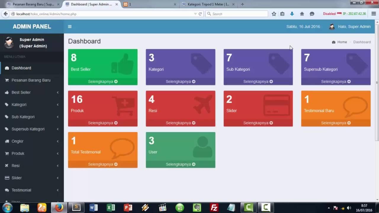 Preview Hal Admin Dvd Perancangan Website Toko Online