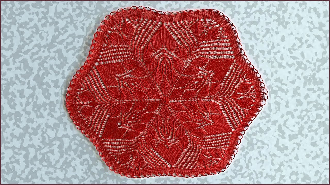 Салфетка спицами. Вязание салфетки. Салфетка. Вязание спицами. Часть 2. (Napkin knitting. P. 2)