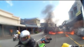 Fiery motorcycle crash footage. Greymouth Street Race. October 2013.