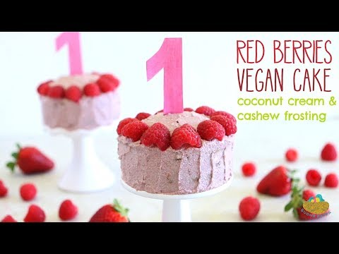 Red Berries Vegan Cake With Coconut And Cashew Frosting - First Birthday Baby Cake