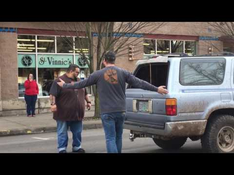 Trump supporter gets his tires slashed during protest - Eugene, OR