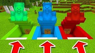 Minecraft PE : DO NOT CHOOSE THE WRONG SECRET BASE! (Green Steve, Blue Steve & Red Steve)