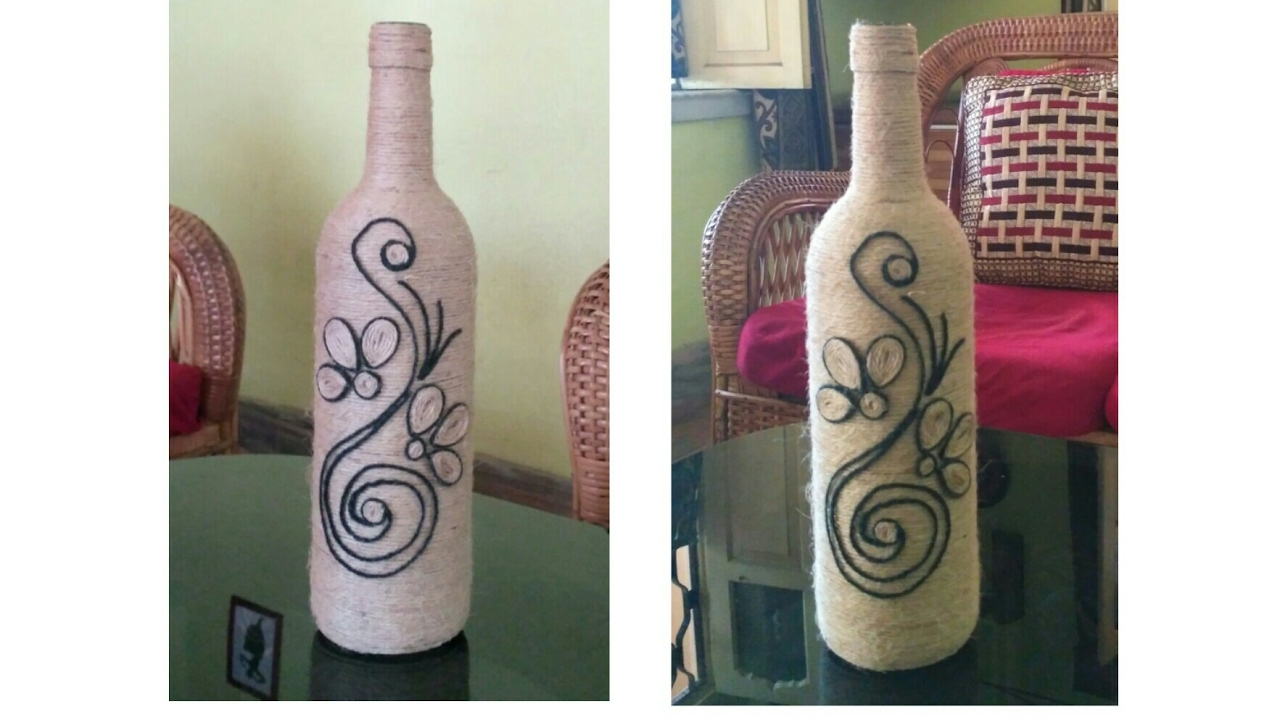 How To Make A Decorated Wine Bottle Using Rope Jute