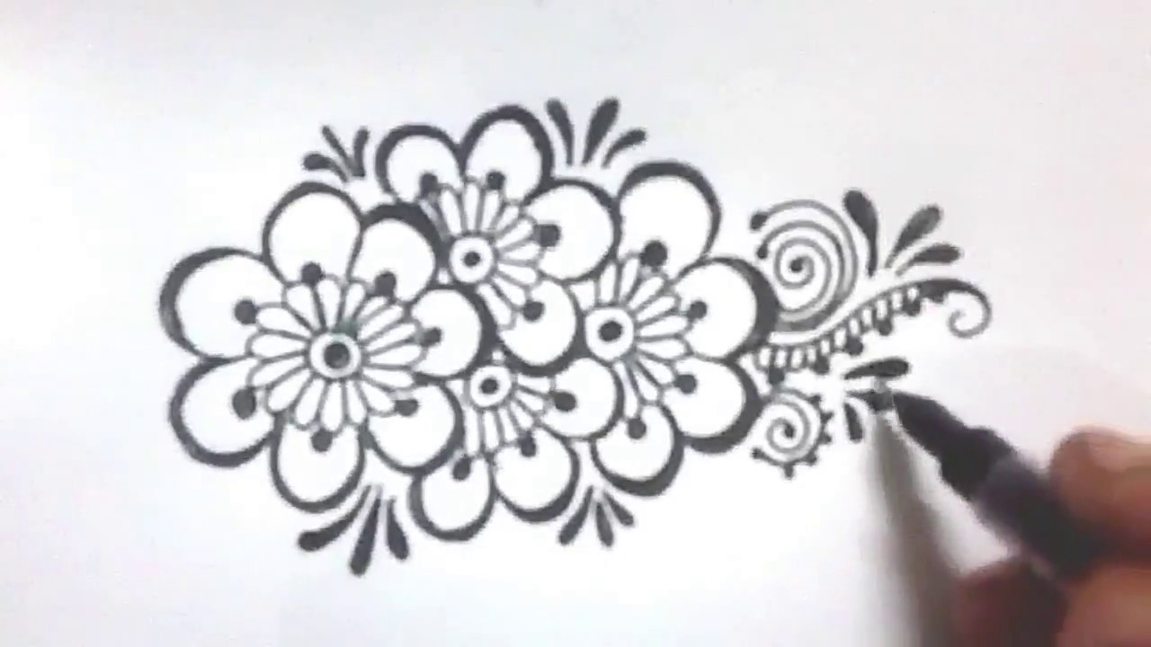 Easy Henna Designs Step By Step For Beginners: How To Draw Easy,simple Floral Henna Mehndi Design On Hand