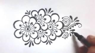 easy designs drawing simple floral henna mehndi drawings draw beginners hand step paintingvalley