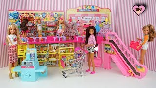 Barbie Doll Family Shopping Mall with Supermarket, Toy Store and Dress Shop!