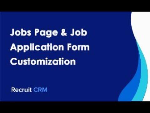 Jobs Page & Job Application Form Customization