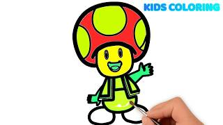 Mushroom Cartoon Coloring Pages । How To Draw Mushroom Coloring Pages for Kids । Learn Colors