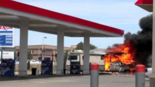 GAS STATION ON FIRE!!TRAGIC